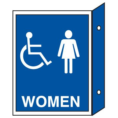 Handicap Women's Restoom Signs - Double Faced
