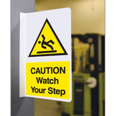 Double Faced Flanged Safety Signs - Caution Watch Your Step