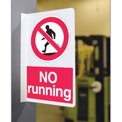 Double Faced Flanged Safety Signs - No Running