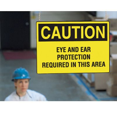 Double Sided Hanging OSHA Signs - Caution - Eye & Ear Protection Required