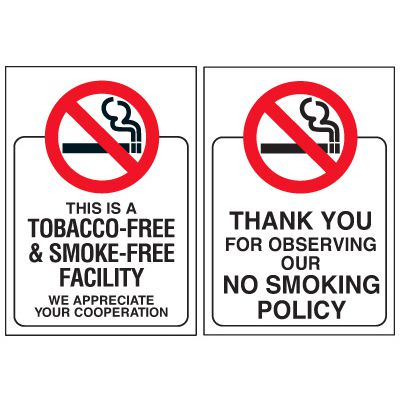 Double-Sided No Smoking Window Signs - THIS IS A TOBACCO-FREE & SMOKE-FREE FACILITY