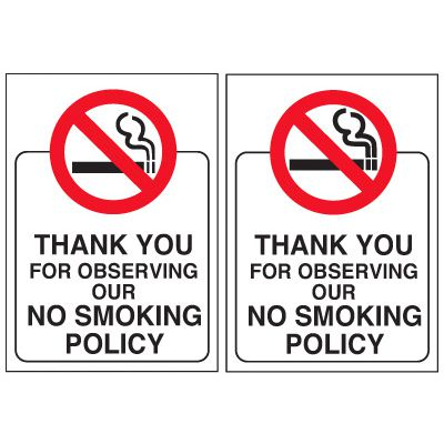 Double-Sided Window Decals - Thank You for Observing Our No Smoking Policy