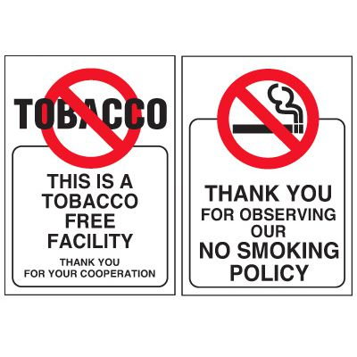 Double-Sided No Smoking Window Signs - THIS IS A TOBACCO FREE FACILITY