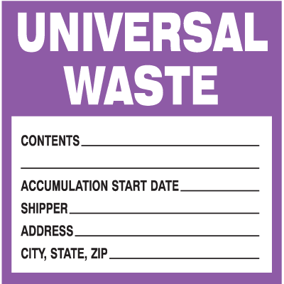 Drum Identification Labels - Universal Waste