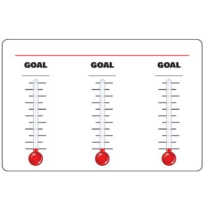 Dry Erase Safety Tracker Signs - 3 Thermometer Goal Chart