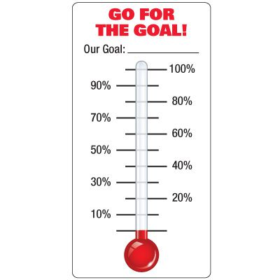 Dry Erase Safety Tracker Signs - Go For The Goal! Thermometer With Labeled Gradients