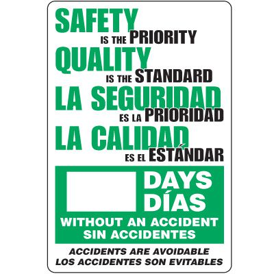 Dry Erase Safety Tracker Signs - Safety Is The Priority __ Days Without An Accident, English/Spanish