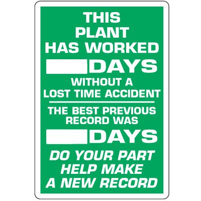 Dry Erase Safety Tracker Signs - This Plant Has Worked __ Days Without A Lost Time Accident