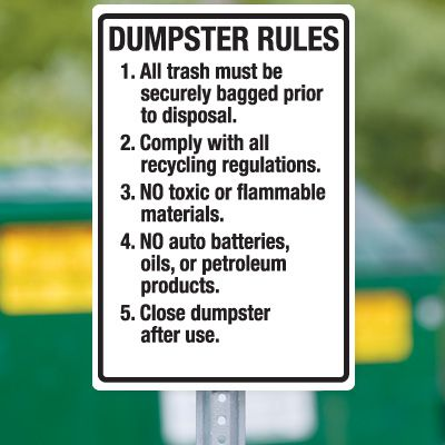 Dumpster Signs- Dumpster Rules . . .