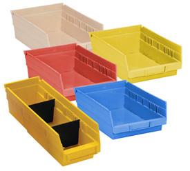 Durable Plastic Shelf Bins 11-5/8L x 6-5/8W x 4H