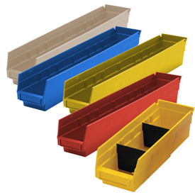 Durable Plastic Shelf Bins 17-7/8L x 8-3/8W x 4H