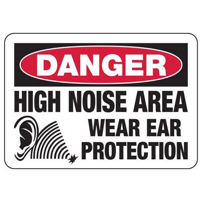 Danger High Noise Area Wear Ear Protection - Ear Protection Sign