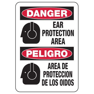 Bilingual Danger Ear Protection Area - Machine Safety Signs