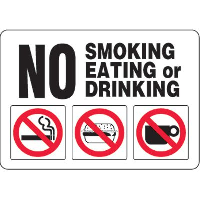 Eco-Friendly Signs - No Smoking Eating Or Drinking