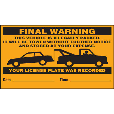 Final Warning Parking Violation Labels