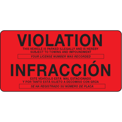 Parking Control Labels - Violation/Infraccion