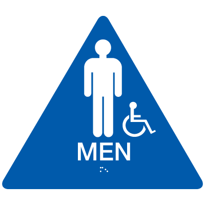 California Code ADA Handicap Men Rest Room Sign - Blue