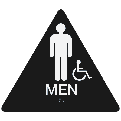 California Code ADA Mens Restroom Signs - Black