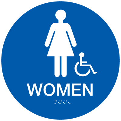California Code ADA Womens Rest Room Signs - Blue