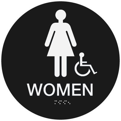 California  Code ADA Women's Rest Room Signs - Black
