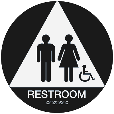 California Code ADA RestRoom Signs - Black