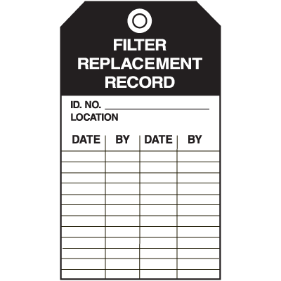 Economy Equipment Inspection Tags - Filter
