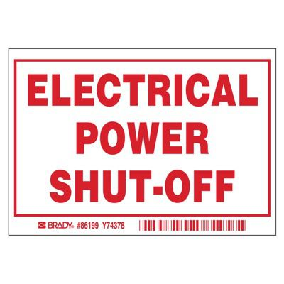 Brady Electric Power Shutoff Labels - Part Number - 86199 - 5/Pack