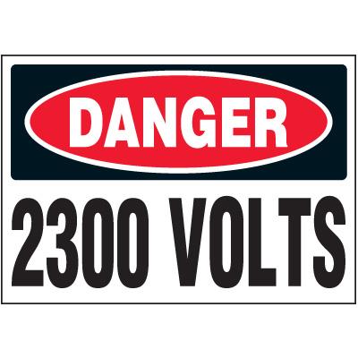 Voltage Warning Labels - Danger 2300 Volts