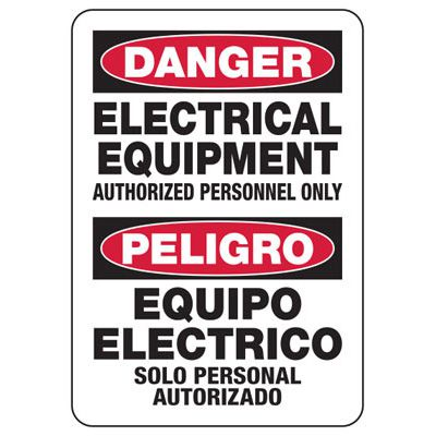 Bilingual Danger Electrical Equipment - Electrical Safety Signs