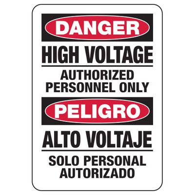 Bilingual Danger High Voltage - Electrical Safety Signs