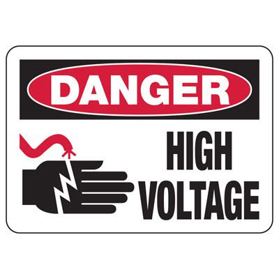 Danger High Voltage With Graphic - Electrical Safety Signs
