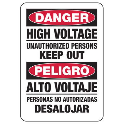 Bilingual High Voltage Unauthorized Persons - Electrical Safety Signs