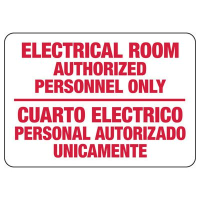 Bilingual Electrical Room - Electrical Safety Signs