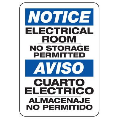 Bilingual Notice Electrical Room No Storage - Electrical Safety Signs