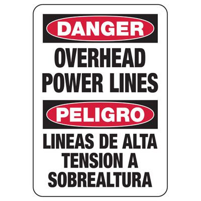 Bilingual Danger Overhead Power Lines - Electrical Safety Signs