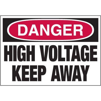 Electrical Warning Labels - Danger High Voltage Keep Away
