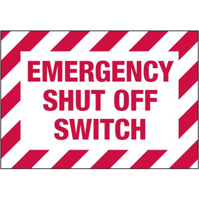 Electrical Warning Labels - Emergency Shut Off Switch