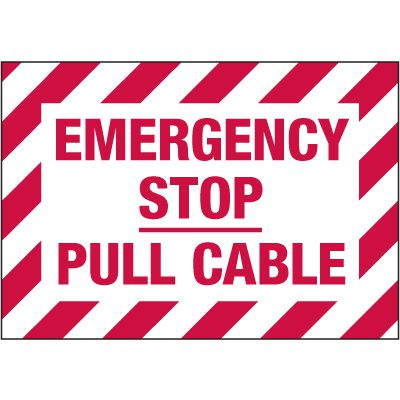 Electrical Warning Labels - Emergency Stop Pull Cable