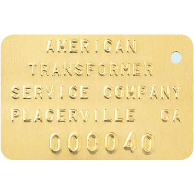 Custom Embossed Radiator Equipment ID Tags