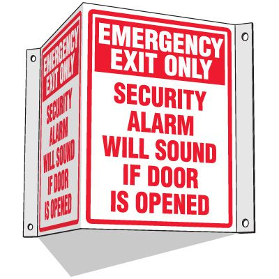 Emergency Exit Only - 3-Way Fire Exit Signs