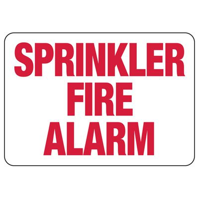 Fire Sprinkler Control Signs - Sprinkler Fire Alarm Fire