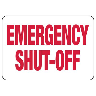 Fire Sprinkler Control Signs - Emergency Shut-Off