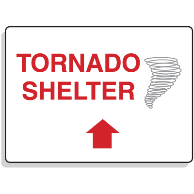 Emergency Signs- Tornado Shelter Arrow Straight
