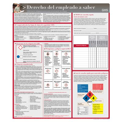 Employee Right To Know - Spanish Hazcom Safety Poster