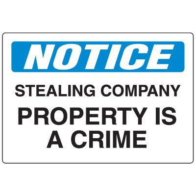 Employee Theft Signs - Notice