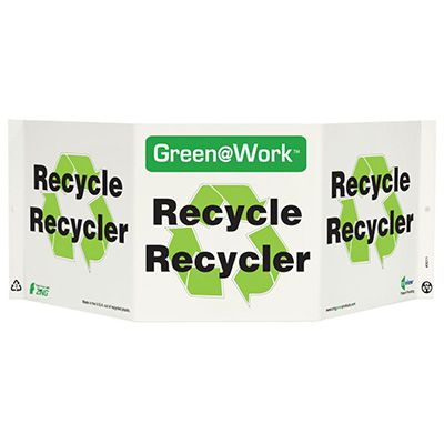 En/Fr Bilingual Tri View Recycling Sign