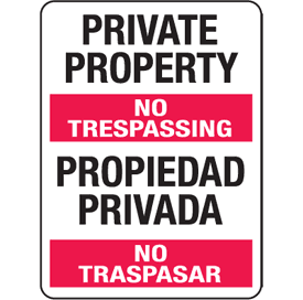 Private Property English-Spanish Security Signs