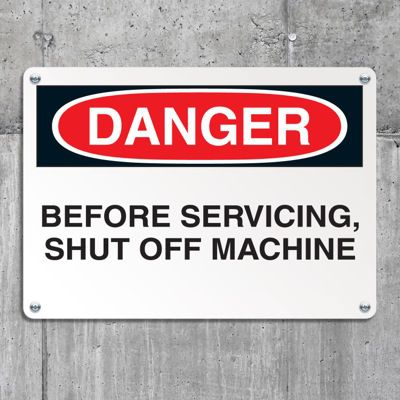 Equipment Hazard Mini Safety Signs - Danger Before Servicing Shut Off Machine