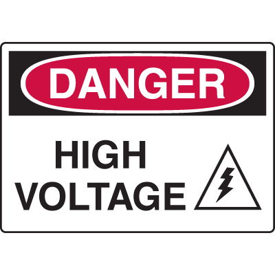 Equipment Hazard Mini Safety Signs - Danger High Voltage