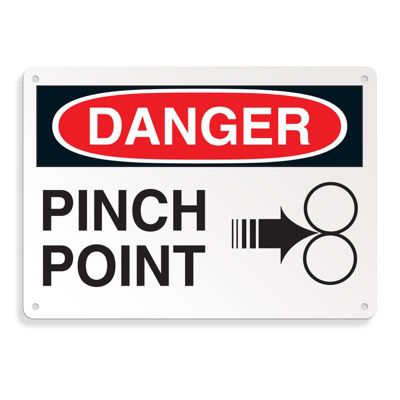 Equipment Hazard Mini Safety Signs - Danger Pinch Point